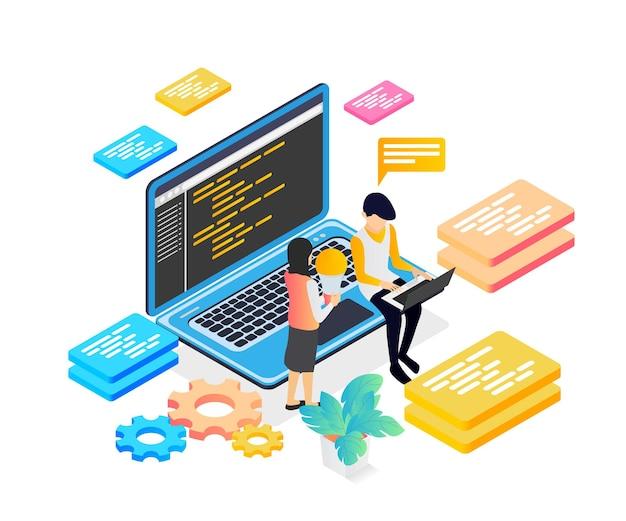 Ilustracja w stylu izometrycznym współpracownika programisty projektowania interfejsu użytkownika