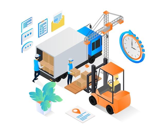 Ilustracja w stylu izometrycznym zamówienia dostawy z wózkiem widłowym i ciężarówką