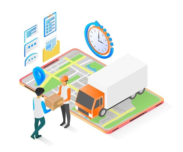 Ilustracja w stylu izometrycznym zamówienia dostawy ze smartfonem i ciężarówką