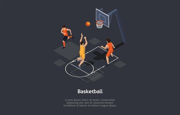 Ilustracja w stylu kreskówki 3d, skład izometryczny z obiektami i postaciami. koszykówka. infografiki. grupa ludzi grających w gry sportowe, aktywność zespołu. aktywność zawodowa i amatorska