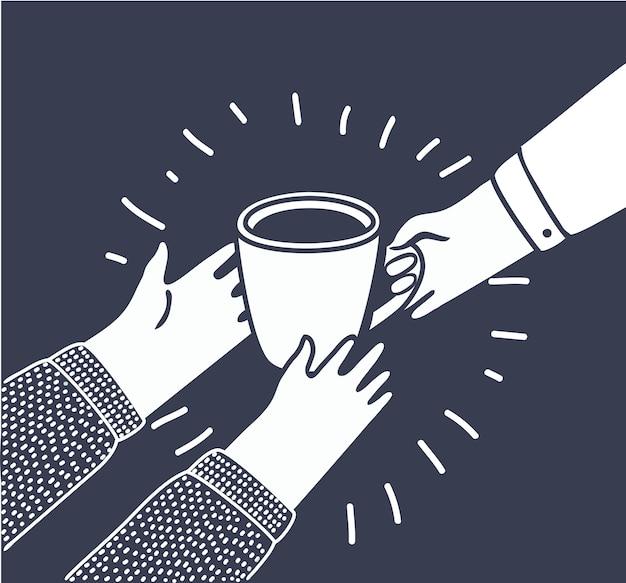Ilustracja w stylu kreskówki z osobami daje innemu filiżankę kawy lub herbaty z ręki do ręki. pomoc potrzebującym, ludzkości, dobroczynności, wrażliwym grupom społecznym.