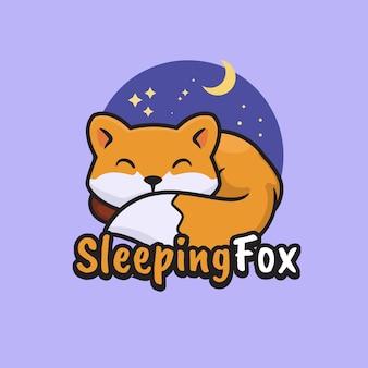 Ilustracja w stylu kreskówki ze śpiącym logo maskotki lisa