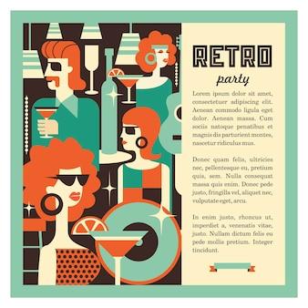 Ilustracja w stylu lat 70-tych. impreza retro.