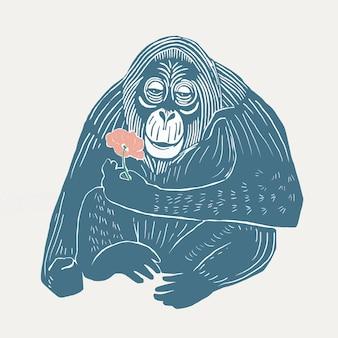 Ilustracja w stylu linorytu w stylu vintage niebieski orangutan