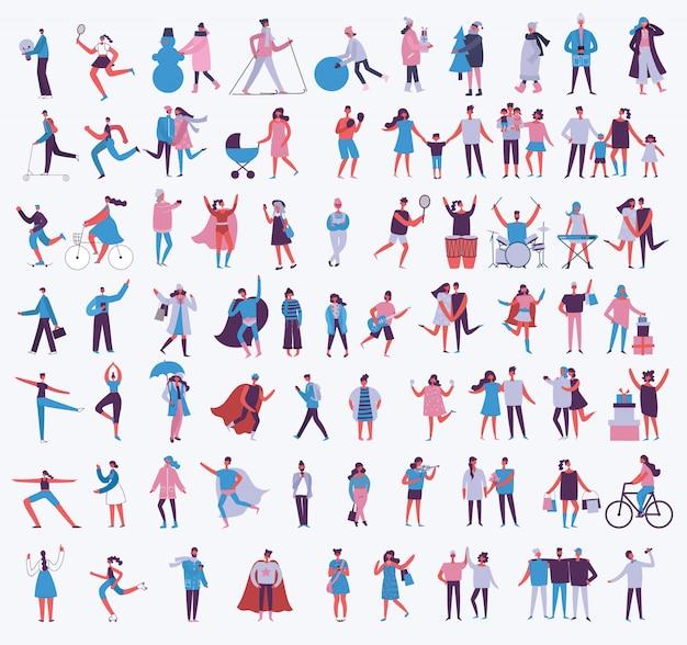 Ilustracja w stylu płaski różnych działań ludzi