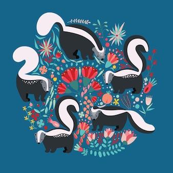 Ilustracja w stylu płaski z elementami kwiatowymi kreskówka, kwiatami i skunksami. ładny kolorowy pocztówka projekt.