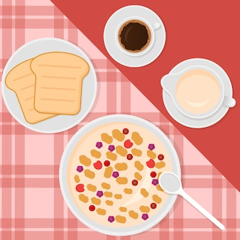 Ilustracja w stylu płaski z musli, mlekiem, kawą i tostami