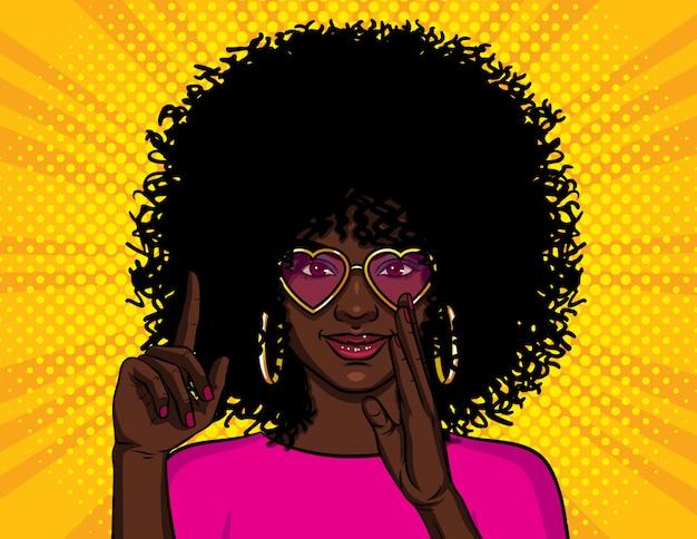 Ilustracja w stylu pop-art, african american girl pokazuje kciuk do góry