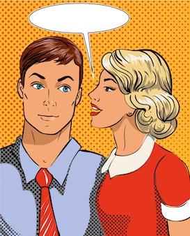 Ilustracja w stylu pop-art. kobieta mówi do mężczyzny w tajemnicy. komiks w stylu retro. plotki i pogłoski.