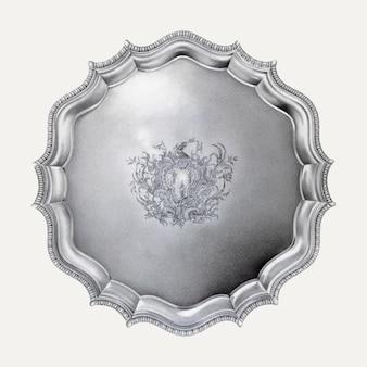 Ilustracja w stylu vintage ze srebrną tacą, zremiksowana z grafiki autorstwa horace'a reina