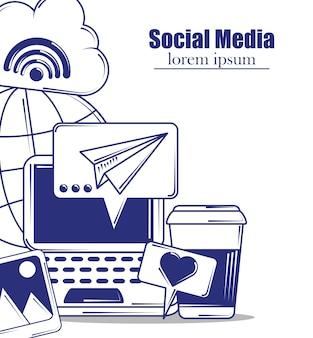 Ilustracja w stylu wypełnienia niebieskiej linii mediów społecznościowych