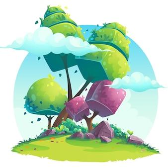 Ilustracja w tle abstrakcyjnych drzew pod chmurami na trawniku ze skałami