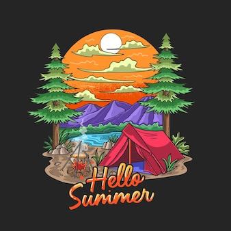 Ilustracja wakacje poszukiwacza przygód na obozie letnim