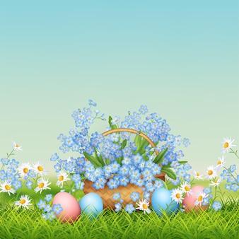 Ilustracja wakacje wielkanocne. wiosenny krajobraz z wiklinowym koszem, jajami i kwiatami w trawie