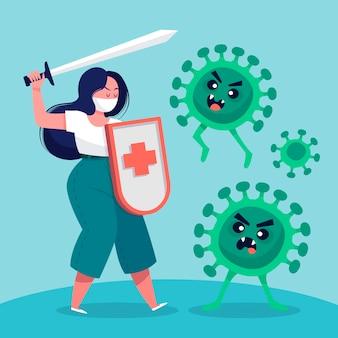 Ilustracja walczy z wirusem młoda kobieta