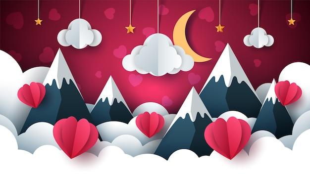 Ilustracja walentynki. balon, chmura, gwiazda, góra