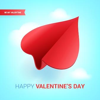 Ilustracja walentynki czerwony papierowy samolot w kształcie serca.