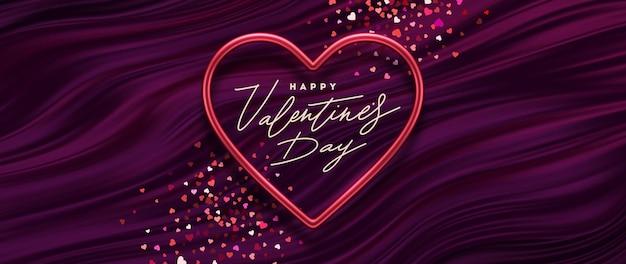 Ilustracja walentynki. kaligraficzne pozdrowienia w metalowej ramie w kształcie serca na tle fioletowych fal płynu.
