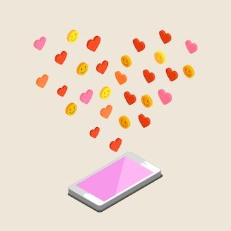 Ilustracja walentynki. odbieranie lub wysyłanie miłosnych e-maili i smsów na walentynki, związek na odległość. płaska konstrukcja, ilustracji wektorowych