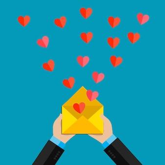 Ilustracja walentynki. odbieranie lub wysyłanie miłosnych e-maili i smsów na walentynki, związek na odległość.