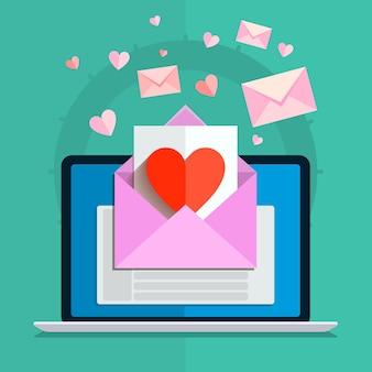Ilustracja walentynki. otrzymywanie lub wysyłanie e-maili miłosnych na walentynki, związek na odległość. płaska konstrukcja, ilustracji wektorowych