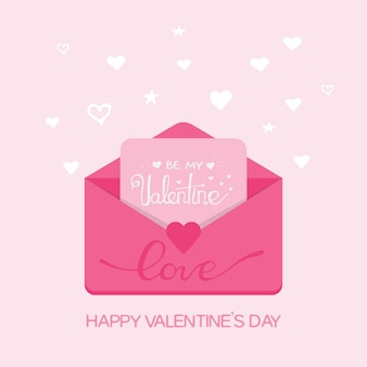 Ilustracja walentynki. otrzymywanie lub wysyłanie miłosnych e-maili i smsów, związek na odległość. płaska konstrukcja, wektor