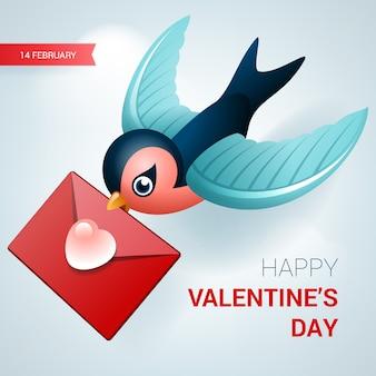 Ilustracja walentynki ptak z listem miłosnym.