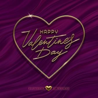 Ilustracja walentynki. realistyczna złota metalowa kaligrafia w ramce w kształcie serca na tle fioletowych fal płynu.
