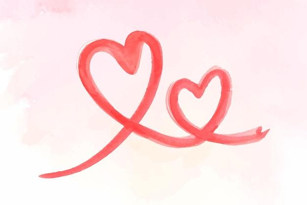 Ilustracja walentynki serca obrysu pędzla
