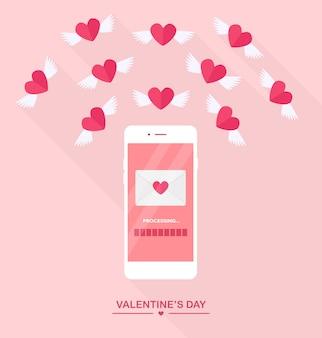 Ilustracja walentynki. wysyłaj lub otrzymuj miłosne smsy, listy, e-maile z telefonu komórkowego. biały telefon komórkowy na białym tle. koperta, latające czerwone serce ze skrzydłami. płaska konstrukcja, ikona.