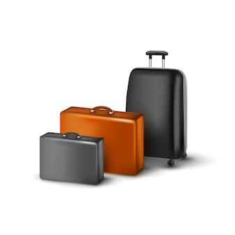 Ilustracja walizki podróżnych na białym tle