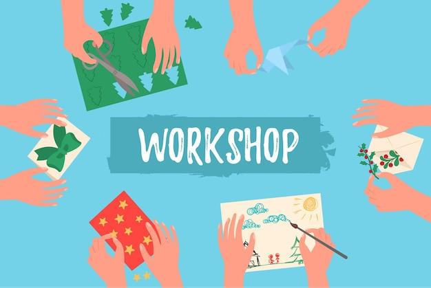 Ilustracja warsztatowa z rękami dzieci tnącymi papier, malowaniem, robótkami na drutach i szyciem