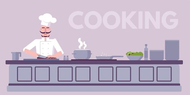 Ilustracja warsztatu kulinarnego, szef kuchni gotuje pyszne jedzenie postać z kreskówki na profesjonalnym wnętrzu kuchni restauracji.
