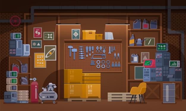 Ilustracja warsztatu piwnicy