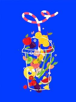 Ilustracja warzyw i owoców w przezroczystym szkle.