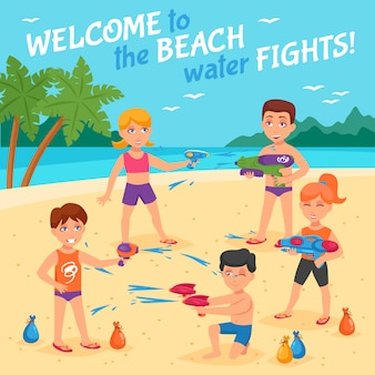 Ilustracja water beach fights