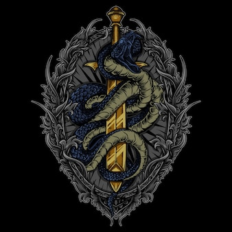 Ilustracja wąż i miecz w grawerowaniu ornament