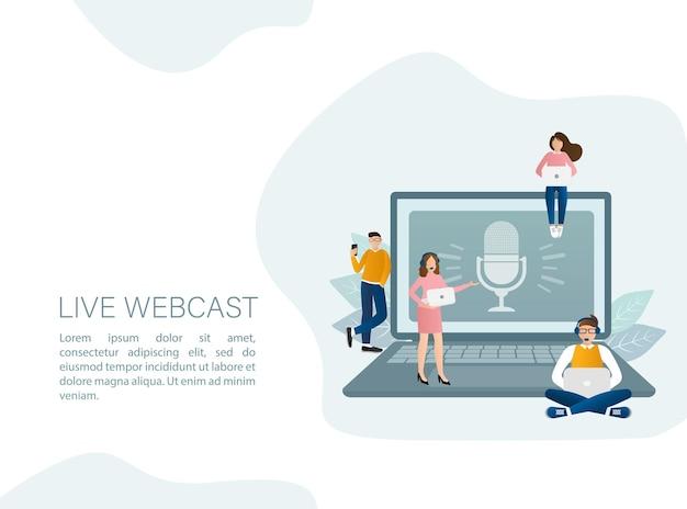 Ilustracja webcast na żywo w stylu płaski z ludźmi.