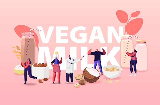 Ilustracja wegańskie mleko. postacie z asortymentem organicznych napojów bezmlecznych z orzechów.