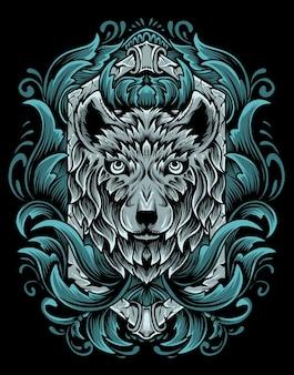 Ilustracja wektor głowa wilka z ornamentem vintage grawerowania.