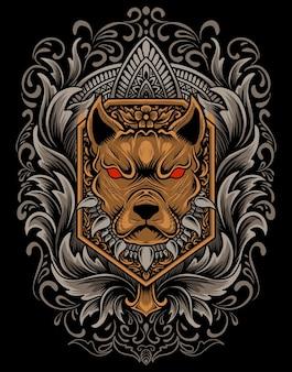 Ilustracja wektora głowa psa z rocznika ornamentem grawerowania.
