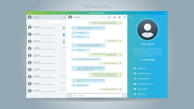 Ilustracja wektora interfejsu użytkownika okna aplikacji do przesyłania wiadomości
