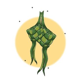 Ilustracja wektora stylu grawerowania ketupat