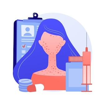 Ilustracja wektorowa abstrakcyjna koncepcja alergii na leki. czynniki wyzwalające alergie na leki, czynniki ryzyka, skutki uboczne leków, test na nietolerancję leków, abstrakcyjna metafora leczenia objawów choroby alergicznej.