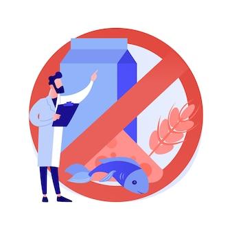 Ilustracja wektorowa abstrakcyjna koncepcja alergii pokarmowej. nietolerancja składników żywności, leczenie alergii, identyfikacja alergenów, czynnik ryzyka, problem z wysypką skórną, abstrakcyjna metafora diety bezglutenowej.