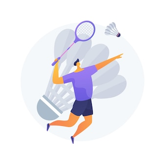 Ilustracja wektorowa abstrakcyjna koncepcja badmintona. sport rakietowy, rekreacja na świeżym powietrzu, turniej badmintona, artykuły sportowe, ludzie grający, trening klubowy, abstrakcyjna metafora konkurencji.