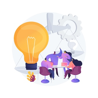 Ilustracja wektorowa abstrakcyjna koncepcja burzy mózgów. praca zespołowa, narzędzia do burzy mózgów, zarządzanie pomysłami, zespół kreatywny, proces pracy, znajdowanie rozwiązania, abstrakcyjna metafora współpracy startupowej.