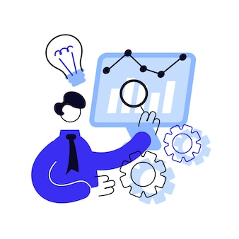 Ilustracja wektorowa abstrakcyjna koncepcja business intelligence. analiza danych biznesowych, narzędzia do zarządzania