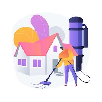 Ilustracja wektorowa abstrakcyjna koncepcja centralnego systemu próżniowego. sprzęt agd, usuwanie brudu, instalacja centralnego odkurzania, sprzątanie domu, worek filtrujący, serwis wykonawczy, metafora abstrakcyjna sprzętu.
