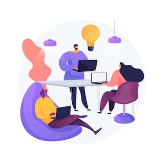 Ilustracja wektorowa abstrakcyjna koncepcja centrum uruchamiania. inkubator startupów, młody przedsiębiorca, generowanie pomysłów na biznes, centrum innowacji it, nawiązywanie kontaktu z inwestorem, abstrakcyjna metafora partnerstwa.
